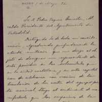 Carta de León Vega, director del periódico La Justicia, a Pedro Vaquero Concellón, alcalde de Valladolid