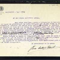 Carta de Juan Antonio Ramos, presidente de la Comisión de Gobierno, a Tomás Gutiérrez Cobos