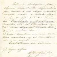 Carta de Alfonso Gelabert a Víctor Balaguer
