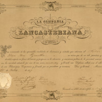 Diploma de socio residente de la Compañía Lancasteriana de México, expedido a nombre de José Zorrilla