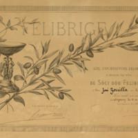 Título de socio de Félibrige a nombre de José Zorrilla