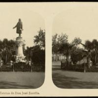 Vista estereoscópica de la estatua de José Zorrilla en Valladolid