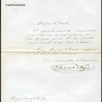 Carta del chambelán de la emperatriz Eugenia al conde de Lérida, segundo secretario de la legación de España en París