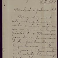 Carta de Emilio Castelar al alcalde José de Hornedo Huidobro