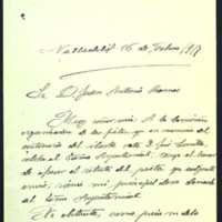 Carta de Valentín Oreja a Juan Antonio Ramos