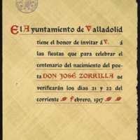 Modelo de invitación a las fiestas del centenario del nacimiento de Zorrilla