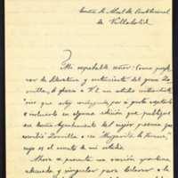 Carta de José Tangis Orrit, profesor de literatura, al alcalde de Valladolid, Leopoldo Stampa