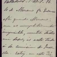 Carta de Francisco Zarandona a Mariano González Lorenzo, presidente de la comisión para el traslado de los restos de Zorrilla