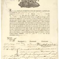 Cédula de gramática de José Zorrilla Moral, natural de Valladolid, examinado para oír facultad el 8 de noviembre de 1834