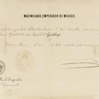 Nombramiento de oficial de la Orden Imperial de Guadalupe a José Zorrilla, firmado por Maximiliano I, emperador de México