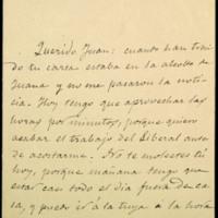 Billete de José Zorrilla a Juan Ruiz Pino