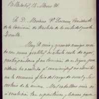 Carta de Casimiro González García-Valladolid a Mariano González Lorenzo, presidente de la comisión para el traslado de los restos de Zorrilla